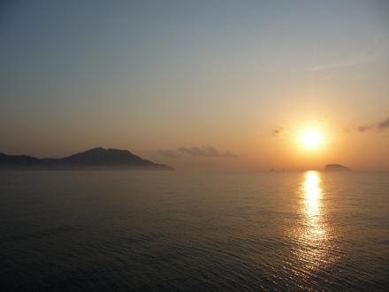 Sunrise on the ferry to Padangbai
