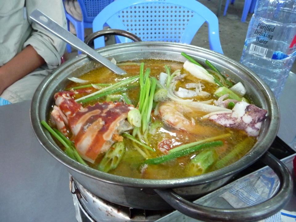 Crab, Shrimp, Fish & Mussel seafood hot pot at the fish market