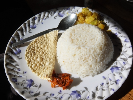 Even this meagre serving is Dal Baht (missing Dal)